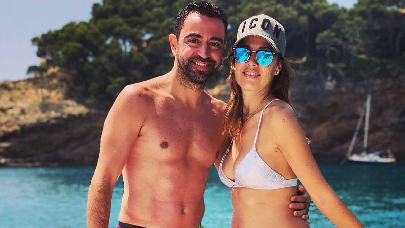 Xavi Hernández y su mujer Nuria Cunillera
